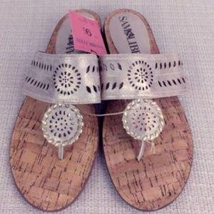 Sam & Libby Tibby Whip Stitch Metallic Sandals 9.5